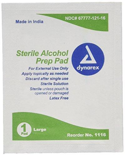 Dynarex Alcohol Sterile Prep Pads, Large, 100 Count ()