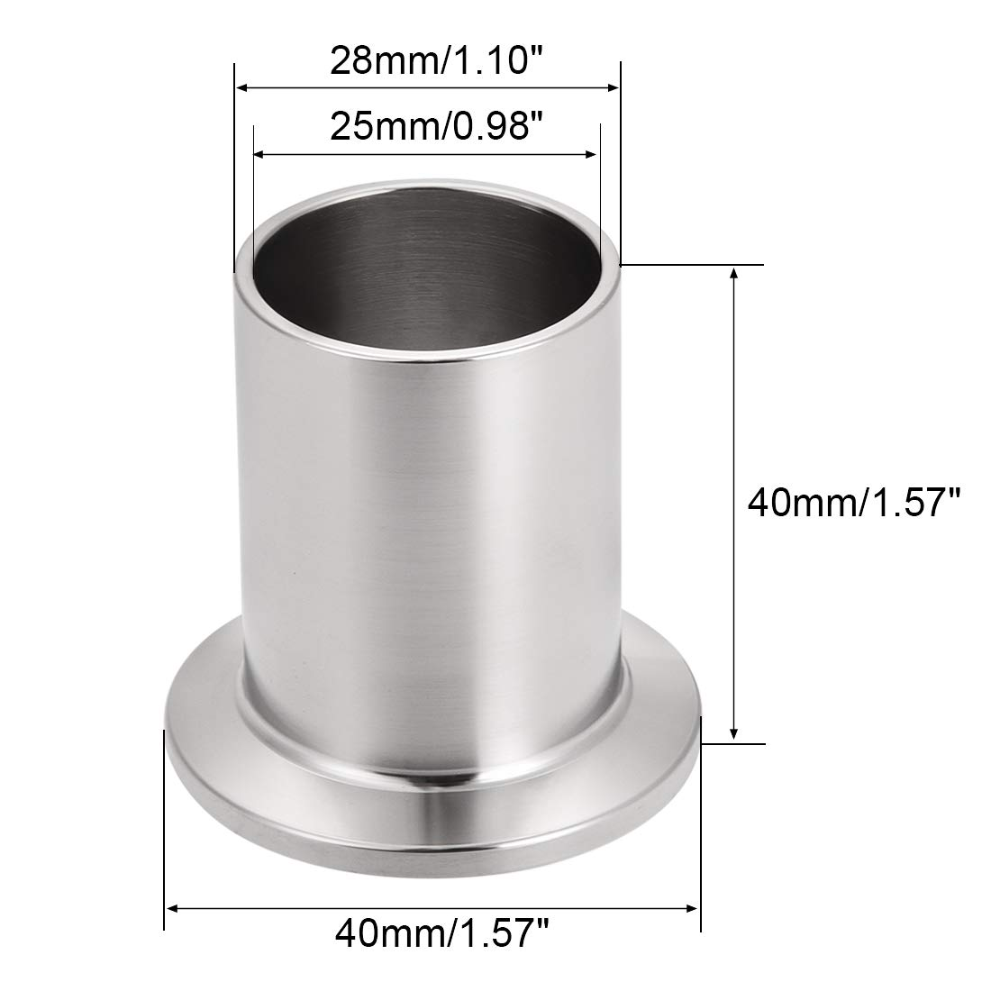 uxcell 304 Stainless Steel Fitting Long Weld Clamp Ferrule Fits Tri Clamp 54mm x 40mm 2Pcs
