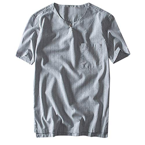 - iSovze Fashion Men's Summer Cotton and Linen Striped Button T-Shirt Short Sleeve Gray