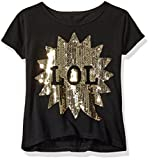 Dream Star Girls' Short Sleeve Sequin Applique Boxy Top with Faux Button Back