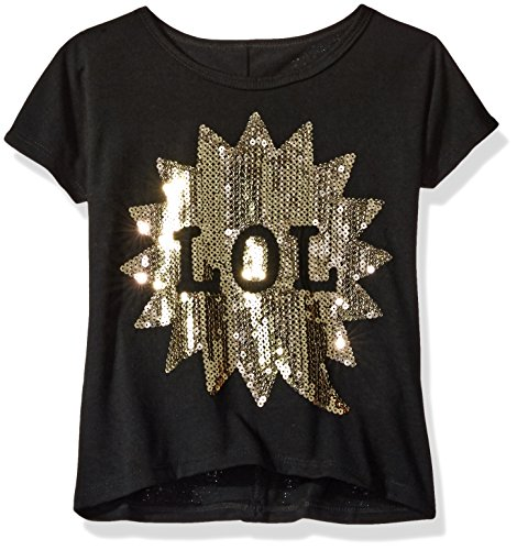 Dream Star Girls Short Sleeve Sequin Applique Boxy Top with Faux Button Back