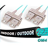 FiberCablesDirect - 65M OM4 SC SC Fiber Patch Cable | Indoor/Outdoor 100G SC to SC Multimode 50/125-65 Meter (213.25ft) | Length Options: 0.5M-300M | OM4 Compatibility: OM3/OM2 | 1Gb 10Gb 40Gb 100Gb