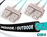 FiberCablesDirect 25M OM4 SC SC Fiber Patch Cable   Indoor/Outdoor 100G SC to SC Multimode 50/125-25 Meter (82.02ft)   Length Options: 0.5M-300M   OM4 Compatibility: OM3/OM2   1Gb 10Gb 40Gb 100Gb