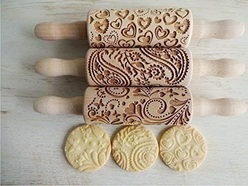 LOVELY DAY 3 KID Rolling pin SET Wooden Laser Cut Mini Rolling Pins for cookies, play dough, salt dough or clay -