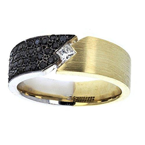 Wedding Ring,, 18Kt White & Yellow Gold Mens Diamond & Black Diamond Wedding Ring, 0.90Ct -