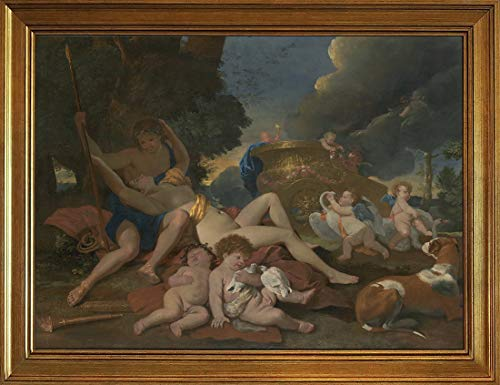 Berkin Arts Classic Framed Nicolas Poussin Giclee Canvas Print Paintings Poster Home Decor Reproduction(Venus and Adonis) #JK