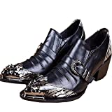 Men's Leather Loafers With Rivet Wedding Dress Shoes Slip On Buckles Black (US 9.5)