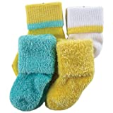 Luvable Friends 4 Pack Classic Fuzzy Socks, Yellow, 6-18 Months