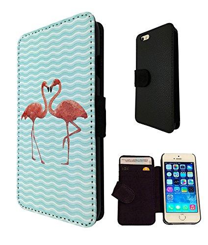 347 - Cool Fun Love Flamingo Design iphone SE - 2016 Fashion Trend TPU Leder Brieftasche Hülle Flip Cover Book Wallet Credit Card Kartenhalter Case