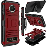 Moto Z3 Play Case, Moto Z3 Case, Zenic Heavy Duty Shockproof Full-Body Protective Hybrid Case Cover with Swivel Belt Clip and Kickstand for Motorola Moto Z3 Play (Red)