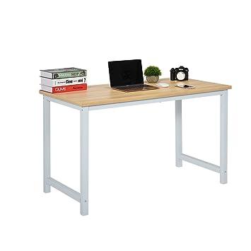 Liranee - Escritorio de Madera Simple con Patas de Metal para Ordenador Portátil, para Estudio, Oficina, Estación de Trabajo: Amazon.es: Hogar