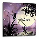 3dRose dpp_35696_1 Believe Fairy with Dragonflies with Moon and Purple Sky Wall Clock, 10 by 10-Inch For Sale