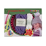 Loom Knitting Pattern Kit For Beginners - Hat Set - Purple Hat & White Pompom - BambooMN