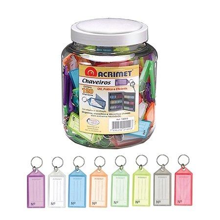 (Acrimet Key Tag Jar w/ 120 Keyring Tags (Assorted Colors))