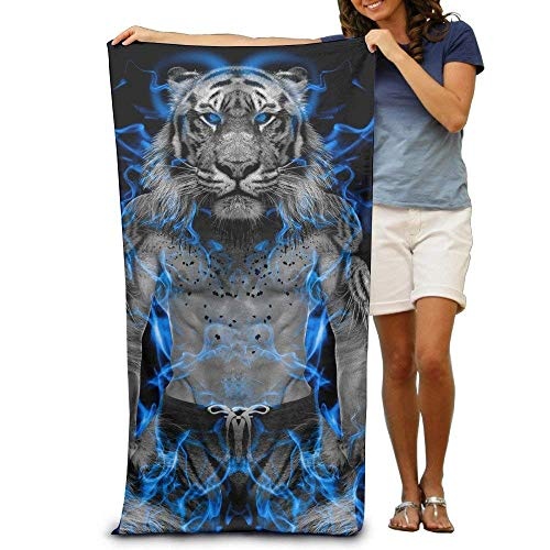 (VogueDIY GHEDPO Blue Fire Tiger Wallpaper Printed Cool Beach Towel 31.5x51.2 Inches/80x130cm)