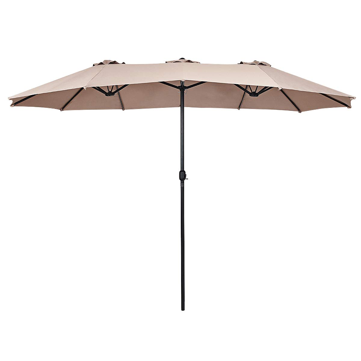 Tangkula 15 Ft Patio Umbrella Double-Sided Outdoor Market Table Umbrella with Crank Beige
