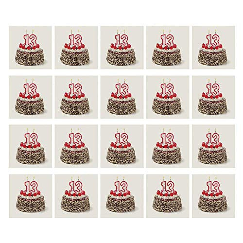 C COABALLA 13th Birthday Decorations 3D Ceramic Tile Stickers 20 Pieces,Cake with Numeral Candles and Cherries Yummy Desert for Party for Home,3.9