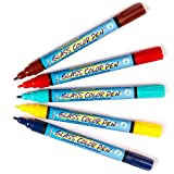 Brilliant Glass Paint Pens Water-Based Paint, Children's Painting and Decorating Activities (Pack B) - Pack of 5 - Hobby Line 42641