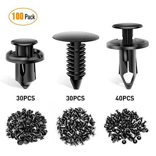 GOOACC GRC-18 100PCS 7mm 8mm 10mm Nylon Push Expansion Screws Replacement Kit,Bumper Fastener Rivet Clips GM 21030249 Ford ()