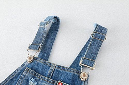 Kidscool Girls 5 Round Ripped Bibs Jeans Overalls Dress,Light Blue,6-7 Years by Kidscool (Image #7)