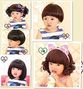 Amazon.com   Korean baby girls hair band wig hair accessories headdress baby  boys and girls fake bangs ribbon curls camera models   Beauty 1f38700a2fc