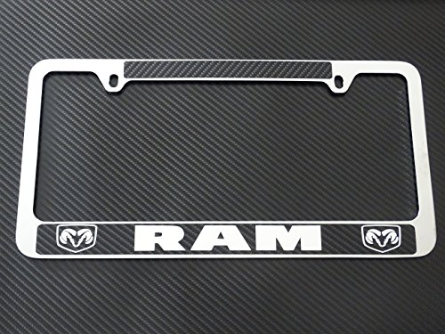 - AtoZCustoms Dodge ram license plate frame chrome metal, carbon fiber details