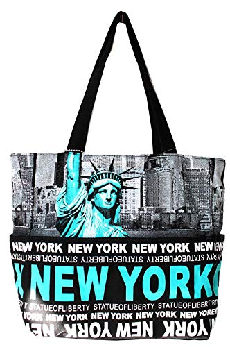 9c5a2f40d976 Robin Ruth Statue of Liberty NY Skyline Canvas Tote Shoulder Small Bag  Teal Black