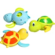 Dmeixs Baby Bath Toy, Wind Up Bath Toys,Turtle Bathtub Toys for Toddlers, Floating Toys, Eco-Friendly Material, 3 Pack