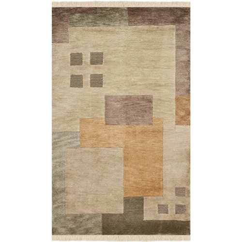 Safavieh Tibetan Collection TB178A Hand-Knotted Beige and Multi Wool Area Rug (4' x 6') ()