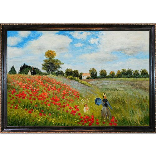 Overstockart Mon1854-Fr-982324X36 Monet Poppy Field in Argenteuil with La Scala Frame, Black and Gold Finish (Field Argenteuil Poppy)