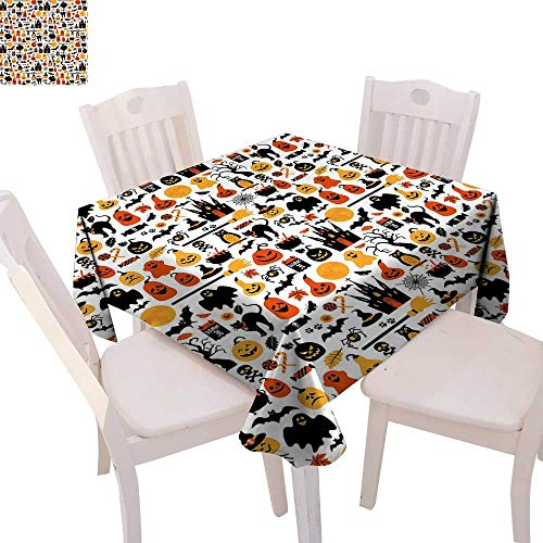 cobeDecor Halloween Dinner Picnic Table Cloth Halloween Icons Collection Candies Owls Castles Ghosts October 31 Theme Waterproof Table Cover for Kitchen 54