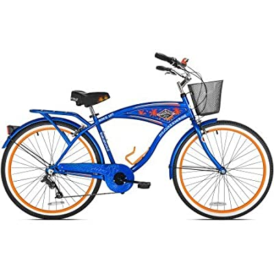 "26"" Men's Margaritaville Multi-Speed Cruiser Bike, Blue | Shimano 7-Speed Drivetrain With Easy Twist Shifting (Blue/Orange)"