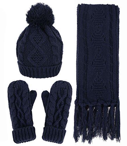 Knit 3 Piece Set - Women's Winter Warm Cable Knit 3 Piece Fleece Hat, Scarf & Glove Set,Navy
