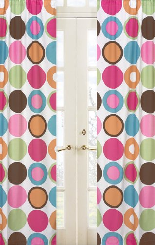 Modern Deco Dot Stripe Window Treatment Panels - Set of 2