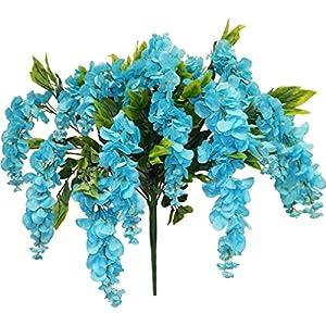"39"" Huge Wisteria Bush Silk Artificail Wedding Craft Flowers Home Decor 15 Stems 82"