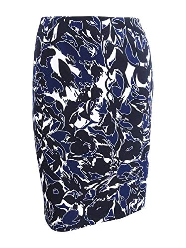 Kasper Women's Abstract Printed Crepe Skirt, Indigo Multi, 4