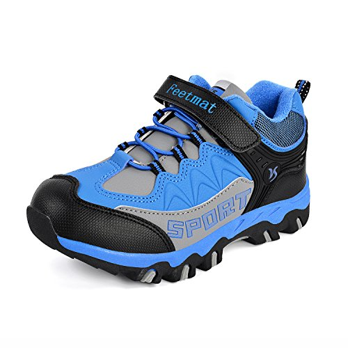 (MARSVOVO Running Shoes Kids Waterproof Outdoor Breathable Athletic Strap Sneakers Blue 2 M US)