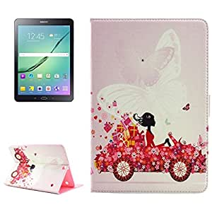 Girl in Car Pattern Diamond Encrusted Horizontal Flip Leather Case with Holder for Samsung Galaxy Tab S2 9.7 / T815 / T810