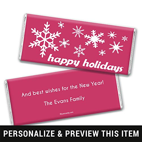 Happy Holidays Personalized Chocolate Bar Wrappers Only Holiday Snowflakes (25 Wrappers) Blush