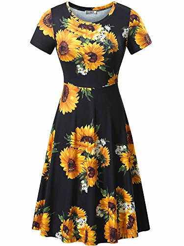- HUHOT Black Casual Dresses, Women Endless Summer Sunflower A-Line Midi Dresses(Print 3,Large)