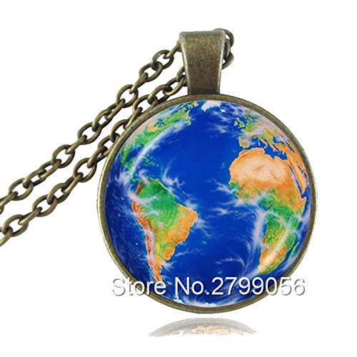 Mother Earth Photo Necklace Globe Pendant Planet Jewelry Space Necklace Glass Cabochon Pendant Jewellery
