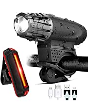 Conjunto de luces de bicicleta recargable USB - Luz de bicicleta delantera impermeable 300 lúmenes + LED Luz de cola de bicicleta 300 lúmenes, Luz de seguridad de bicicleta Luz trasera de bicicleta LED Luz intermitente, Luces de bicicleta brillante para ciclismo de carretera (Conjunto de luces de bicicleta)