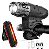 GoTravel2 USB Rechargeable Bike Light Set – Waterproof Front Bicycle Light 300 Lumens + LED Bike Tail Light, Bike Safety Light Headlight Bicycle Rear Blinker Light for Road Cycling (Bike Light)