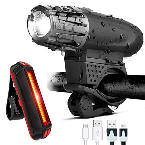 GoTravel2 USB Rechargeable Bike Light Set - Waterproof Front Bicycle Light 300 Lumens + LED Bike Tail Light, Bike Safety Light Headlight Bicycle Rear Blinker Light for Road Cycling (Bike Light)