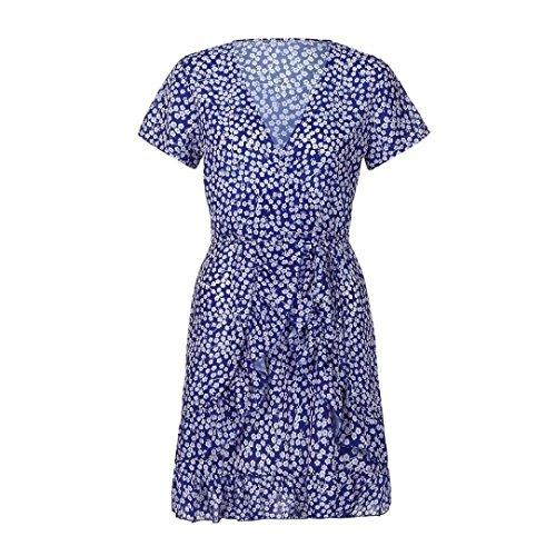 de cuello Mujeres Azul mujer verano largo de corta V Dragon868 vestido florales manga de Vestido niñas para adolescentes Eq4nST