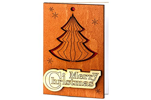 Handmade Wooden Sustainable Merry Christmas Card (with Christmas Tree)