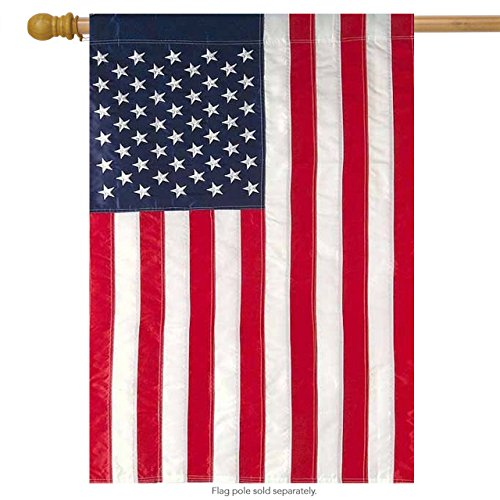 Cheap Briarwood Lane American Flag Applique & Embroidered House Flag Stars & Stripes USA 28″ x 50″