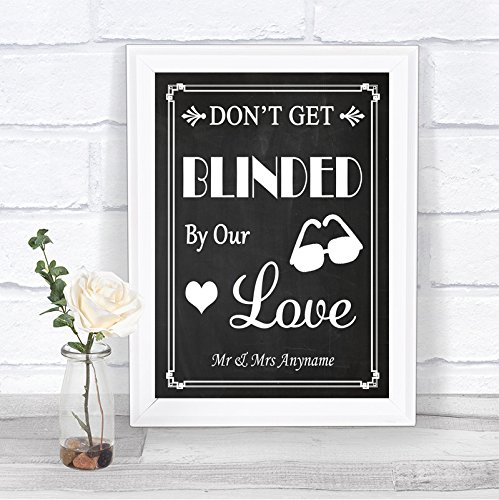 Chalkboard Style Sunglasses Favor Blinded By Love Personalized Wedding Sign