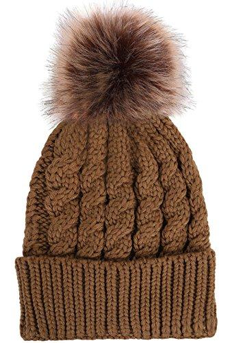 cb01a51a Simplicity Men / Women's Winter Hand Knit Faux Fur Pompoms ...