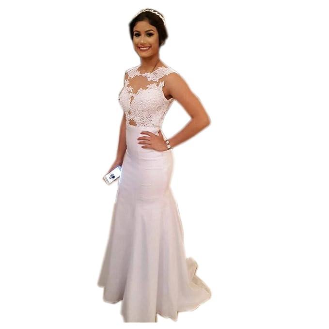 e5201658ec Vampal White Lace Applique Illusion Neckline Open Back Mermaid Prom Dress 2  White